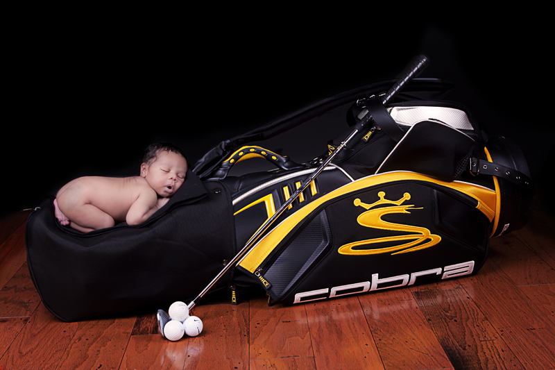 Newborn on Golfbag | Dallas Photographer